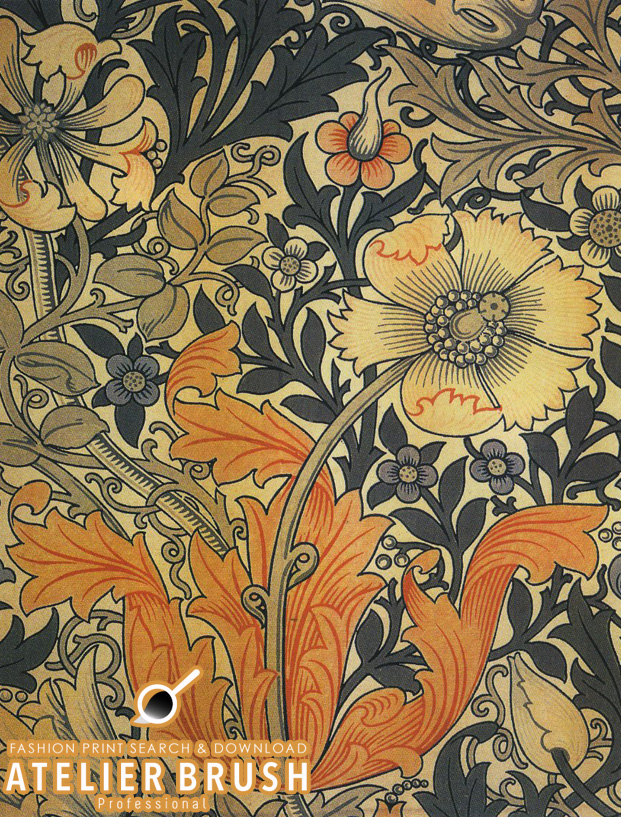 Textile Design Pattern Arts And Crafts Movement
